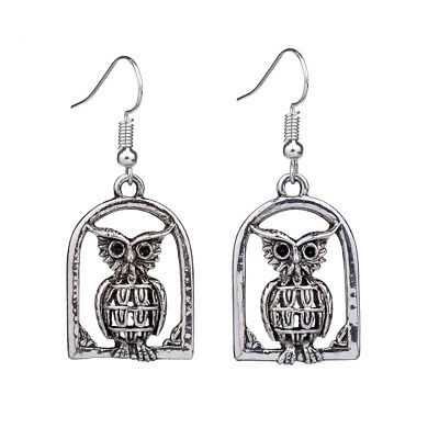 Cute Retro Vintage Antique Silver Hollow Out Cage Owl Drop Earrings For Women