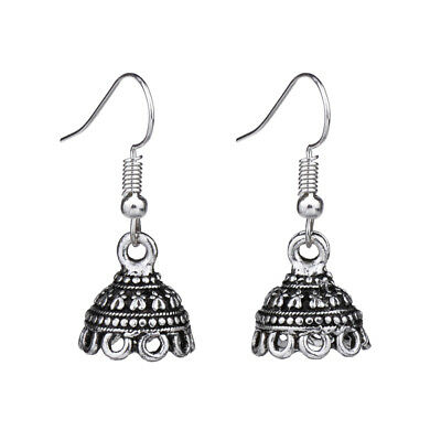 Ethnic Antique Silver Hollow Out Tribal Fashion Vintage Drop Earrings For Women