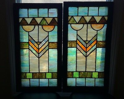 Pair of  Art Deco Stained Leaded Glass Window