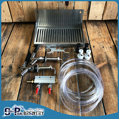 Beer Tap, Drip Tray, Line, Draft Beer System for 2 X Ball Lock Cornelius Kegs