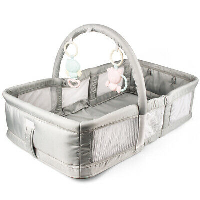 Baby Bed Crib Sleep Basket Portable Sleeper Travel Bassinet Toy Bar - Grey