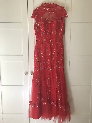 Ladies Size 10 Formal Glamour Evening Gown Red Tulle Beaded Appliqué Sequin