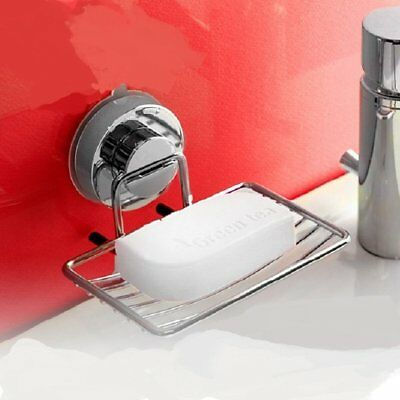 AU_Stainless Steel Wall-mounted with Strong Vacuum Suction Cup Soap Dish Holder