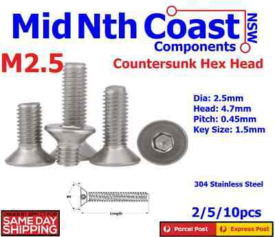 2/5/10pc M2.5 x 3-25mm Flat Hex Head Countersunk 304 Stainless Steel Screws
