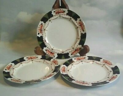 Three 1907 - 1910 Wood And Sons Salad / Desert Plates In Millwood Pattern.