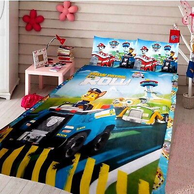 Paw Patrol On Roll Double Size Kids Bed 100% Cotton Quilt Doona Cover Set New