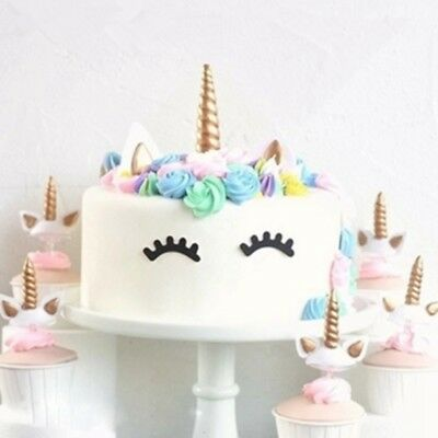 Unicorn Cake Toppers Unicornio Horn Ears Baby Birthday Party Decor Baking Tools