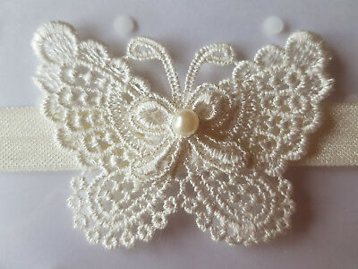 Handmade Baby Headbands With  Lace Butterfly - Ivory - 0 - 24 Months