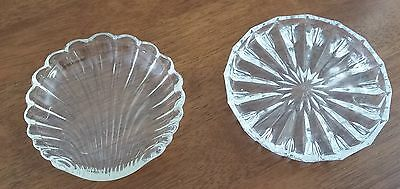 2 x Vintage Mid Century 1960s CLEAR Cut Glass Round VANITY PIN SOAP DISHES
