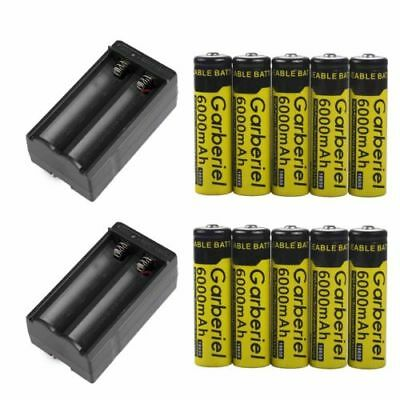 GARBERIEL 3.7V 18650 Battery Li-ion 6000mAh Rechargeable Batteries for Torch Hot