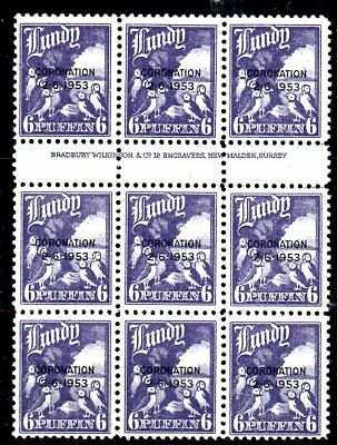 I Block Of Stamps From Great Britain Island Lundy 1954...