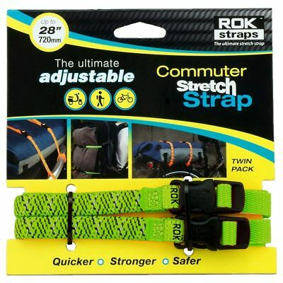Oxford ROK330 Motorcycle Bike ROK Commuter Luggage Straps Green Reflective 12mm