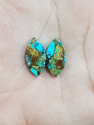 9Cts BLUE COPPER TURQUOISE MARQUISE SHAPE CABOCHON MATCH PAIR LOOSE GEMSTONE