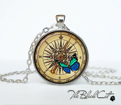 Steampunk Compass Jewelry Tibet silver Cabochon glass pendant chain Necklace