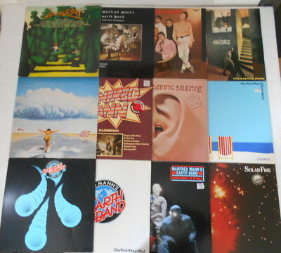 Manfred Mann, Earth Band & mehr -Sammlung 12 LP´s, 2 UK-Pressung, 3 Textinsert