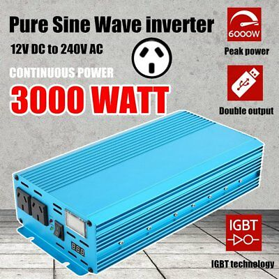 Pure Sine Wave Inverter 3000W/6000W DC12V TO AC 240V With LED Double DISPLAY BUU