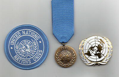 United Nations Medal For The Un Hq New York - Un Beret Badge And Sleeve Badge