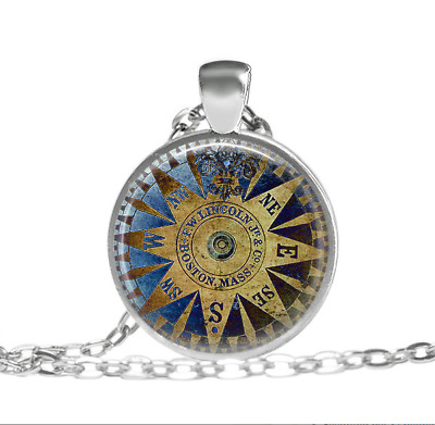 Royal Vintage and Antique Style Compass Tibet silver pendant chain Necklace