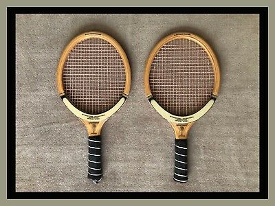 Pair of 1960's Vintage Wood SPORTCRAFT IRA Approved Racquetball Rackets