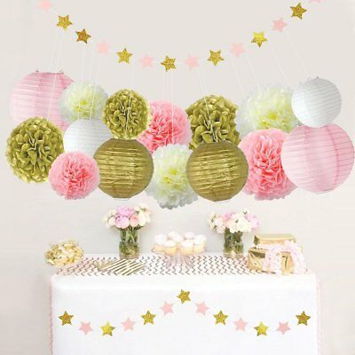 63 Pcs Pink Gold Party Supplies For Baby Shower Birthday Kit Decorations New