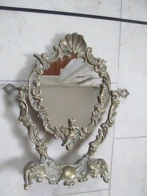 A Lovely  Vintage Solid Brass Ornate Cherub Dressing Table ,vanity Mirror.