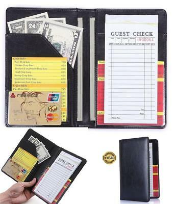Book Server Wallet Waiter Waitress Organizer Pad Check Holder Money Pocket Black