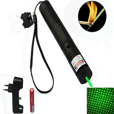 UK Strong Power 1mw 303 Green Pointer Laser Pen Adjustable Focus 532nm Burning