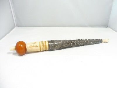 "Unusual 19Thc Russian Jewish Sterling And Amber Torah Pointer ""as Is """