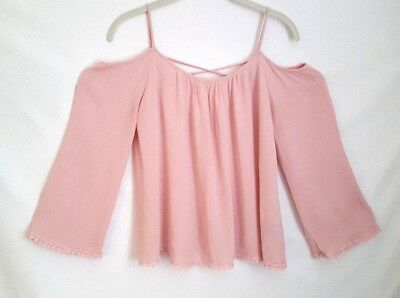 873cc9c0233 Charlotte Russe Womens Cold Shoulder Top Blouse Size S Pink 3/4 Bell Sleeve
