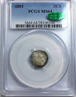 "1851 3-CENT ""SILVER"",  PCGS MS 64, CAC Green Stamp"