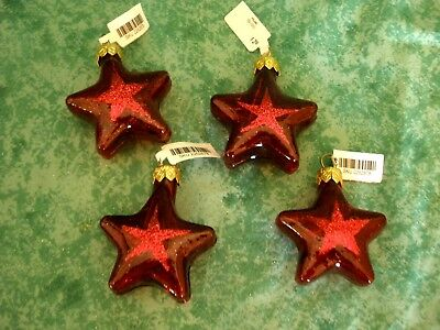 New!!~Star Ornaments~4 Pieces~Red Glass With Glitter Star Design~Poland~Pier 1