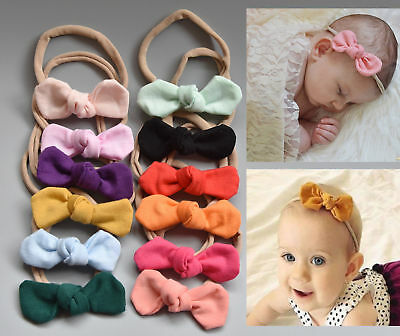 Baby Girls Cotton Knot Bow Thin Nylon Soft Headband Hair Accessories Band