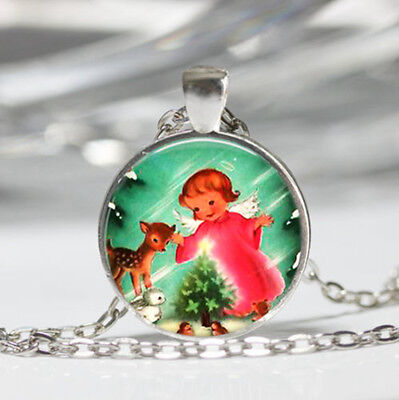 Retro Christmas Tibet silver dome Glass Cabochon Necklace chain Pendant #440