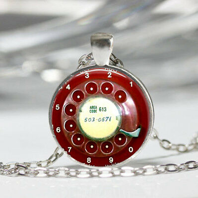Phone Rotary Dial Tibet silver Dome Glass Cabochon Necklace chain Pendant #385