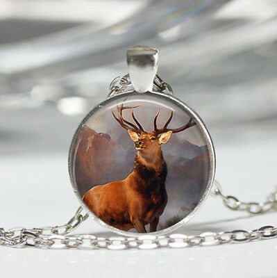 Deer Tibet silver Dome Glass Cabochon Necklace chain Pendant #96