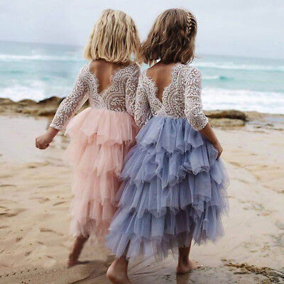 Princess Lace Gown Flower Girl Dress Ruffle Backless Tutu Party Formal Dresses