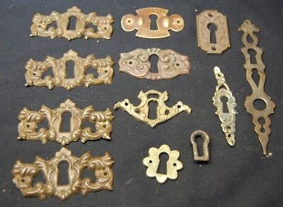 Antique ORNATE VICTORIAN Brass Keyhole Cover Plate for Cabinet Skeleton Key
