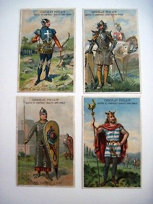 """Set of (4) Victorian Trade Cards """"Chocolat Poulain"""" w/ Crusader Soldiers  *"""