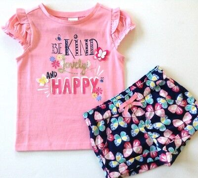 NWT Gymboree 2T 3T Kind Lovely Happy Top & Butterfly Shorts Outfit Pink Girls