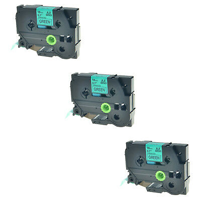 3PK TZ-741 Black on Green Label Tape For Brother P-Touch PT-2730 PT-580 TZe-741