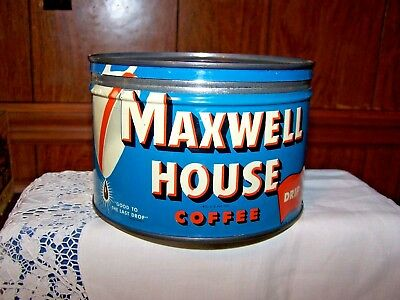 Vintage MAXWELL HOUSE DRIP COFFEE Keywind TIN CAN Good to The Last Drop