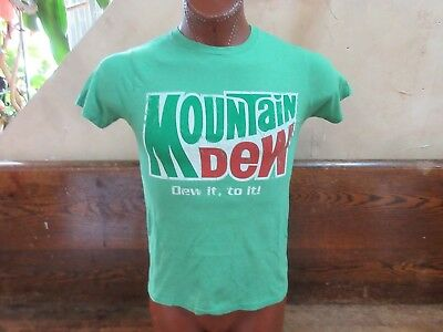(W) Mountain Dew carbonated soft-drink soda small green t-shirt Pepsi Co.