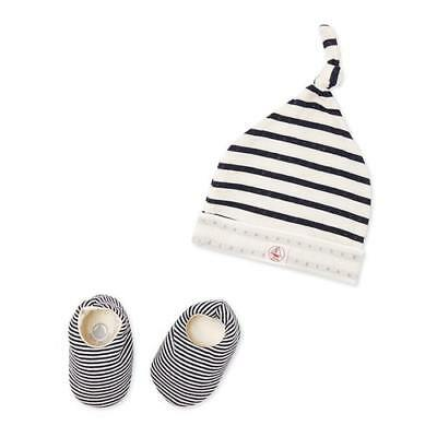 New Petit Bateau Newborn Baby Beanie Cap And Booties Set