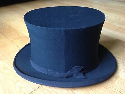 Victorian Antique Collapsable H.copper Smith Gents Top Hat , Uk Size 7.5