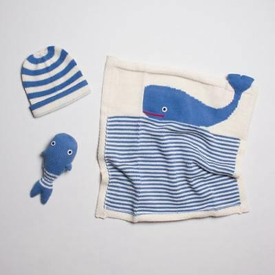 "New Estella Striped Organic Cotton Baby Blanket Gift Set - Blue Whale 14"" X..."
