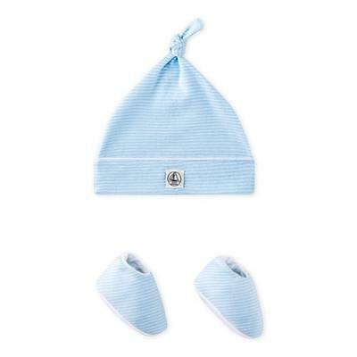 New Petit Bateau Newborn Hat With Booties Set