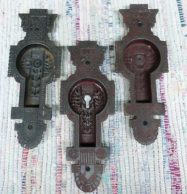 3 Vintage Antique NASHUA LOCK CO Eastlake Pocket Door PULLS one with Key hole