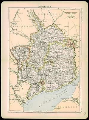1892 Original Antique Colour Map of MONMOUTH by A & C Black (22)