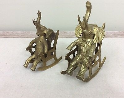Vintage Pair Solid Brass Elephants on Rocking Chairs Med Large Trunks Up Patina