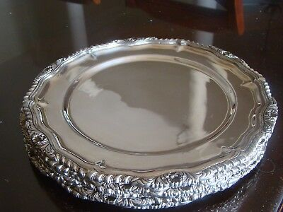 Antique 6 STERLING SILVER Dinner PLATES / CHARGERS Trays 142 T OZ 4404 grams! & ANTIQUE STERLING SILVER Dinner PLATE / CHARGER Tray! 734 grams ...